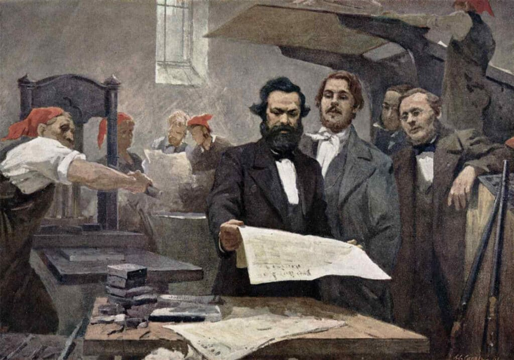 Oil painting of Karl Marx and Frederick Engels who developed earlier versions of standpoint theory based on class.