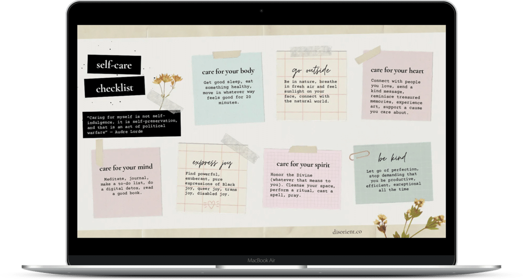 Mockup of what the self-care checklist looks like on a MacBook Air