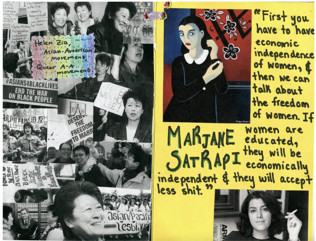 Intersectional Feminism zine showing a vibrant page about Helen Zia and Marjane Satrapi, showcasing intersectional feminist activists.