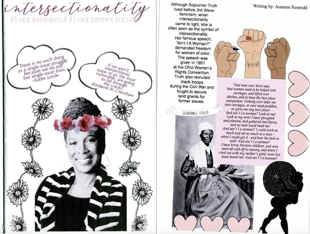 Intersectional feminist zine with a collage of Kimberlé Crenshaw and Sojourner Truth.