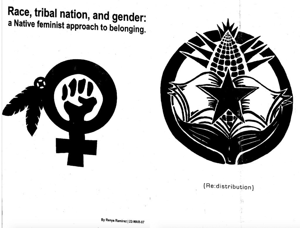Race, Tribal Nation, and Gender: A Native Feminist Approach to Belonging zine.
