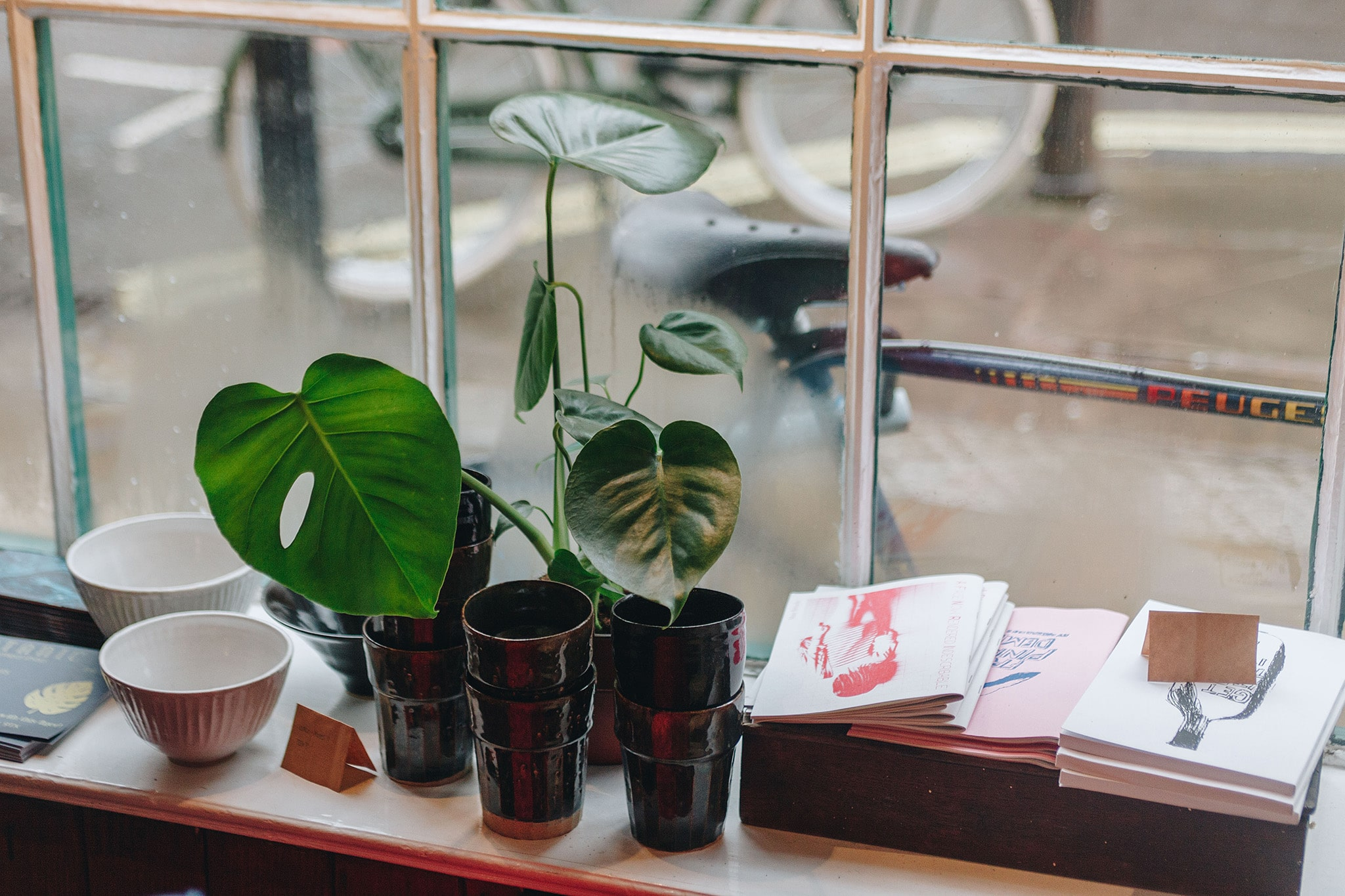 Intersectional feminist zines sit on a window sill in a boutique beside some ceramics and a plant.