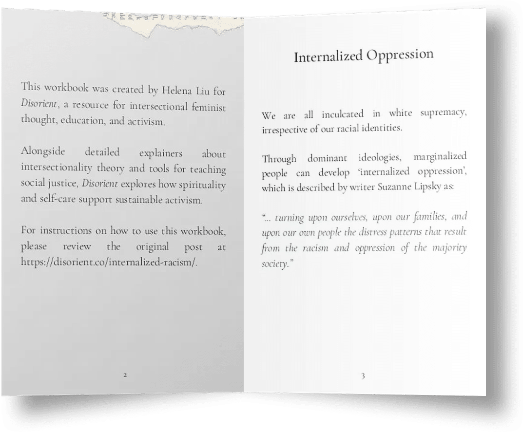 A mockup of two pages inside the internalized oppression journal that I created just for this post to help you reflect and heal from your internalized racism and internalized colonialism