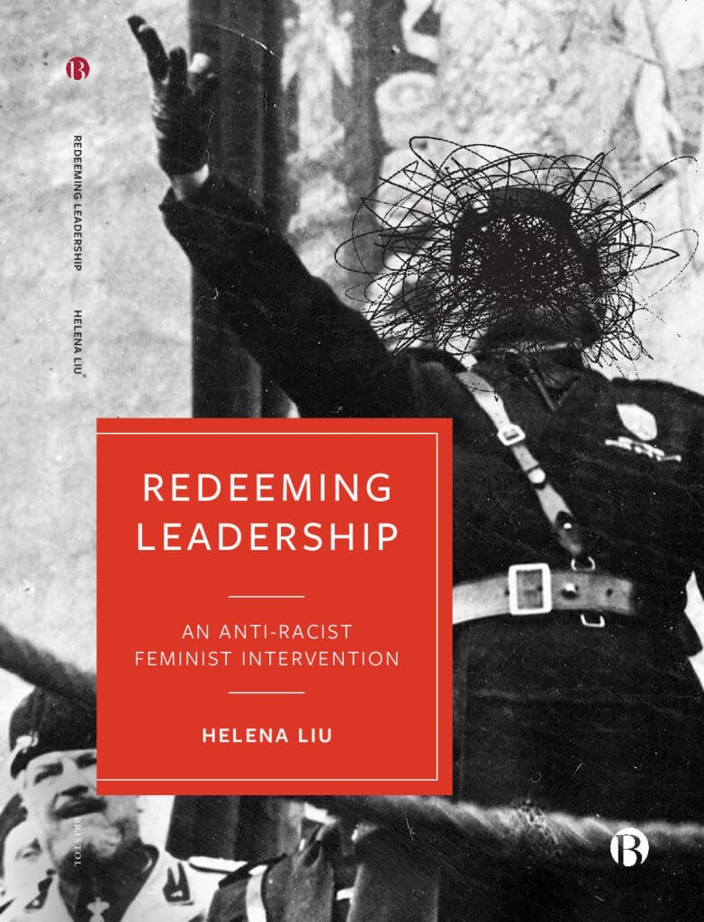 The final cover design for my book, Redeeming Leadership, showing an old black and white photograph of  Benito Mussolini with his face scratched out and the title of the book in a red box.