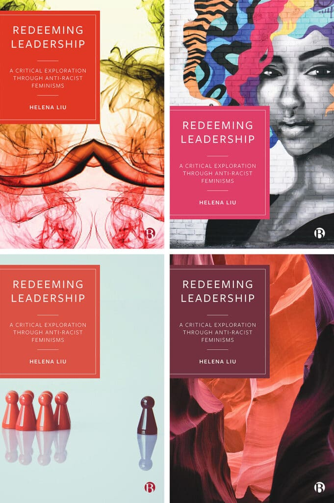 The four original draft designs for my book, Redeeming Leadership, showing various colorful stock images with a solid color box and the title of the book.