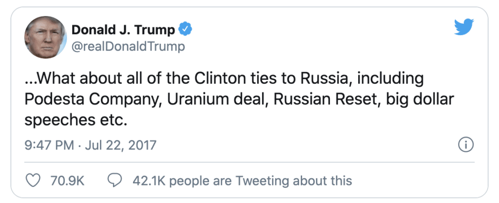 """Screenshot of a tweet from the former president that reads, """"What about all of the Clinton ties to Russia, including Podesta Company, Uranium deal, Russian Reset, big dollar speeches etc., exemplifying whataboutism and whataboutery"""