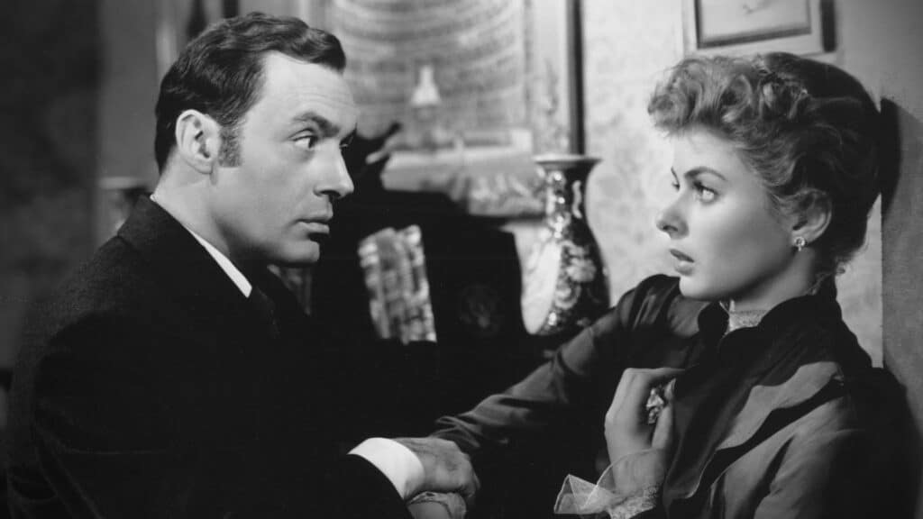 Still from the black and white film, Gaslight, from which the term gaslighting came from
